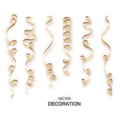 gold glitter curly ribbon serpentine confetti vector image