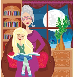 Grandmother is reading a book to her granddaughter vector
