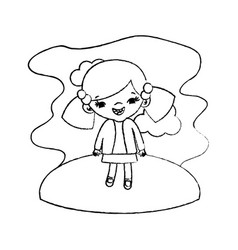 Grunge girl child with two tails in the landscape vector