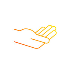 Hand holding something gradient linear icon vector