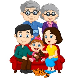 Happy family isolated on white background vector
