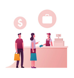 happy people standing at counter desk vector image