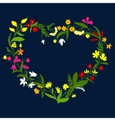 Heart frame with wreath wildflowers and herbs vector