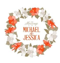 Hibiscus flower wreath vector