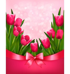 Holiday background with bouquet of pink flowers vector image