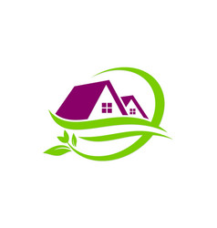 house green leaf nature logo vector image