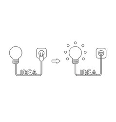 Icon concept light bulb with idea cable and vector