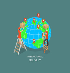 International delivery flat isometric vector