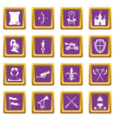 knight medieval icons set purple vector image