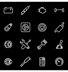 Line car parts icon set vector