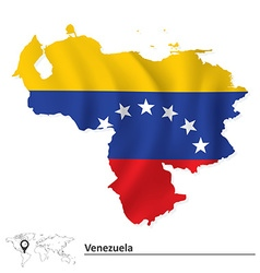 Map of Venezuela with flag vector image