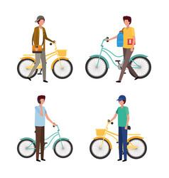Men with bikes design vector