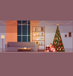 modern living room with winter holidays vector image
