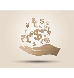Money on hand vector
