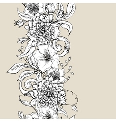 Monochrome seamless border with blooming peony vector