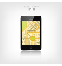 Navigation background with smartphone and map vector image