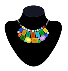 Necklace of colored stones vector