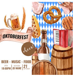 Oktoberfest frame with cheer food alcohol music vector