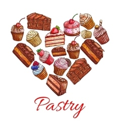 Pastry label in shape of heart with sweets icons vector image