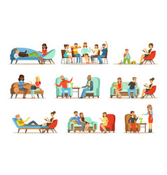 patients at a reception at psychotherapies vector image