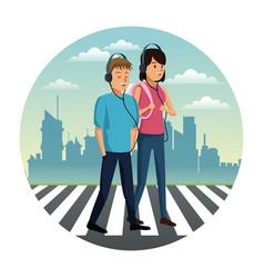 people walking on zebra vector image