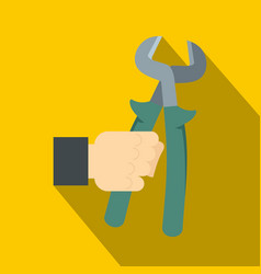 Pincer or plier in man hand icon flat style vector