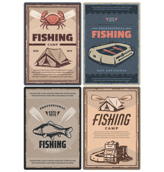professional fishing store and camp retro posters vector image