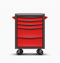 Red tools cabinet front view on white vector