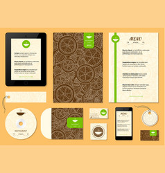 restaurant menu with orange lemon pattern citrus vector image