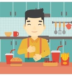 Satisfied man eating fast food vector image
