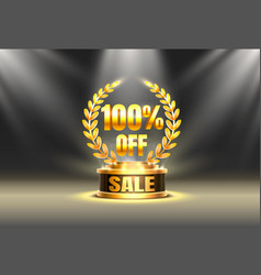 scene golden cup 100 sale off text banner night vector image