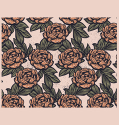 seamless vintage pattern with peony flowers on vector image