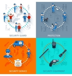 Security guard 4 flat square vector image