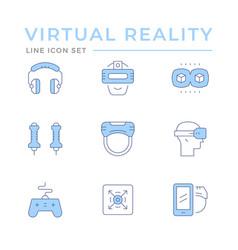 set color line icons virtual reality vector image