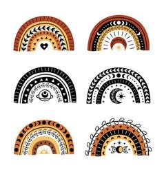 set isolated bohemian rainbows part 2 vector image