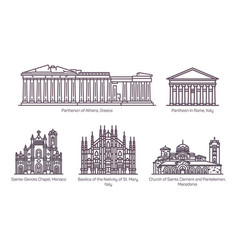 Set line isolated european religion buildings vector