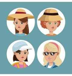 set portrait women traveling tourist vector image