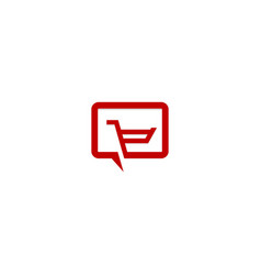 shopping cart talk communication logo vector image