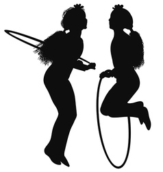Silhouette of a girl doing exercises with a hoop vector image