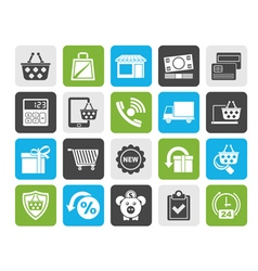 Silhouette on line shop and E-commerce icons vector