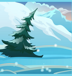 single bent spruce on background snow vector image