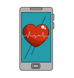 Smartphone device with cardiology app vector