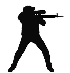Sniper soldier silhouette vector