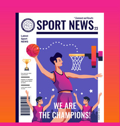 Sport news magazine cover vector