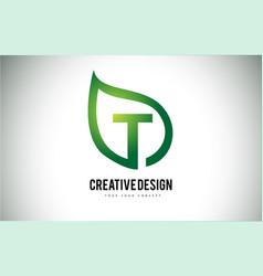 t leaf logo letter design with green leaf outline vector image