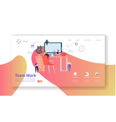 Team work landing page creative process concept vector