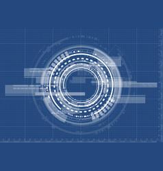 Technological interface future system blueprint vector