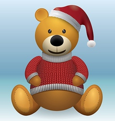 Teddy bear in red sweater red hat vector image