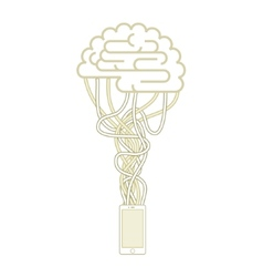 The brain is connected to the network vector image