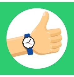 Thumbs up hand flat vector image